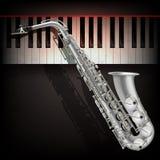Abstrakter Grungehintergrund mit Saxophon und Klavier Lizenzfreie Stockfotos