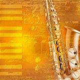 Abstrakter Grungeklavierhintergrund mit Saxophon Stockfoto