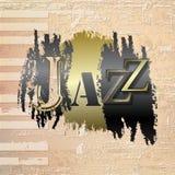 Abstrakter Grungeklavierhintergrund mit Wort Jazz Lizenzfreies Stockfoto