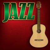 Abstrakter Grungemusikhintergrund mit Wort Jazz auf Rot Stockfotografie