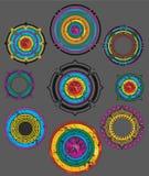 Abstrakter grungy farbiger dekorativer Formausweis Stockfoto