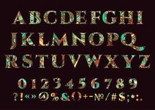 Abstrakter Guss, Vektorsatz Buchstaben, Zahlen und Interpunktionszeichen von verschiedenen Farbmustern auf einem dunklen Hintergr Stockbilder