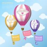 Abstrakter Heißluftballone infographics Entwurf Stockbild