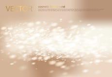 Abstrakter heller beige Hintergrund des Vektors mit silbernen Scheinen, Paillette Stockfotos