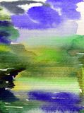 Abstrakter heller bunter struktureller Hintergrund des Aquarells handgemacht Malerei des Himmels und der Wolken während des Sonne