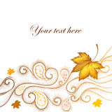 Abstrakter Herbsthintergrund mit punktierten Ahornblättern und Strudeln Lizenzfreie Stockfotos