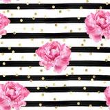 Abstrakter Hintergrund - Aquarell streift - Goldkonfettis und rosa Rosen - nahtlose Mustertapete Lizenzfreies Stockfoto