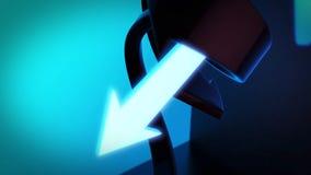 Abstrakter Hintergrund 3D, der die dunkelblauen und cyan-blauen Pfeile dreht Lizenzfreies Stockbild