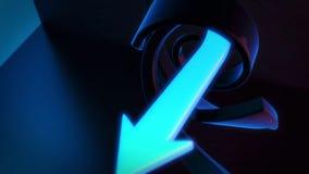Abstrakter Hintergrund 3D, der die dunkelblauen und cyan-blauen Pfeile dreht Stockbilder