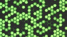 Abstrakter Hintergrund 3d gemacht von den schwarzen Hexagonen auf grünem glühendem Hintergrund Lizenzfreie Stockbilder