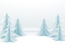 Abstrakter Hintergrund der frohen Weihnachten mit Papierbäumen des neuen Jahres vektor abbildung