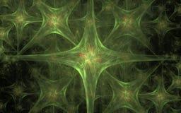 Abstrakter Hintergrund der grünen Farbe in Form von Sternen mit vier Strahlen, die in einem Satz mit Wellen nach innen wiederhole Stockbilder