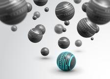Abstrakter Hintergrund der grauen Bälle der Technologie Stockfoto