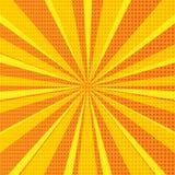 Abstrakter Hintergrund der Pop-Art mit orange Sonnenstrahlen und Halbtonpunkten Auch im corel abgehobenen Betrag stock abbildung