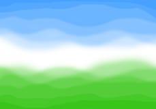 Abstrakter Hintergrund der Wiese und des Himmels lizenzfreie abbildung