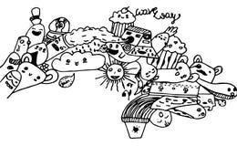 Abstrakter Hintergrund der Zeichentrickfilm-Figuren Stockbild