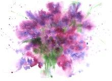 Abstrakter Hintergrund des Aquarells, lila Purpur, mit kleinem Flecken Stockfoto