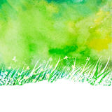Abstrakter Hintergrund des Aquarells mit Handzeichnungs-Gartengras Lizenzfreie Stockfotografie