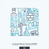 Abstrakter Hintergrund des Baus, integrierte dünne Linie Symbole Lizenzfreie Stockbilder