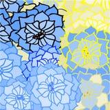 Abstrakter Hintergrund des Blatt- und Blumenmusters im Blau Stockfoto