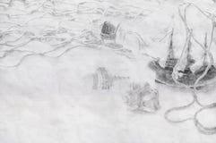 Abstrakter Hintergrund des Bootes in der Flasche Bleistiftskizze paintin Lizenzfreie Stockfotos