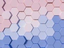 Abstrakter Hintergrund des Hexagons 3d des Ruhe-Blaus und Rose Quartzs Stockbild