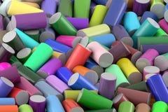 Abstrakter Hintergrund des nach dem Zufall vereinbarten farbigen glatten Zylinders stockfotos