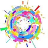 Abstrakter Hintergrund des Radialstrahls 3 D wird aus bunten Linien und geometrischen Formen verfasst vektor abbildung