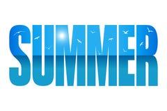 Abstrakter Hintergrund des Sommers mit Meer und Möven lizenzfreie abbildung