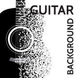 Abstrakter Hintergrund des Vektors mit Gitarre und Anmerkungen Lizenzfreie Stockfotografie