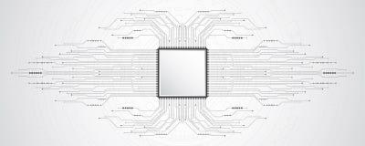 Abstrakter Hintergrund des Vektors zeigt die Innovation der Technologie und der Technologiekonzepte Lizenzfreie Stockfotos