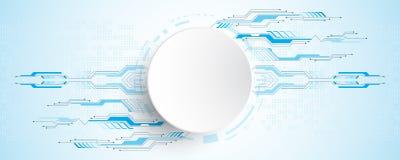 Abstrakter Hintergrund des Vektors zeigt die Innovation der Technologie und der Technologiekonzepte Stockfoto