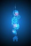Abstrakter Hintergrund des Vektors zeigt die Innovation der Technologie und der Technologiekonzepte Lizenzfreies Stockbild
