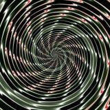 Abstrakter Hintergrund des Verflechtens des konzentrischen Glühens windt sich, eine Illusion der Bewegung schaffend Stockbild