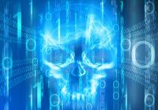 Abstrakter Hintergrund Digital mit dem Schädel Stockfotografie
