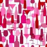 Abstrakter Hintergrund für die Auslegung der Visitenkarte nahtloses Musterbild von Weinflaschen und von Weingläsern für Paket Lizenzfreie Stockbilder
