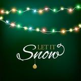 Abstrakter Hintergrund für frohe Weihnacht-oder guten Rutsch ins Neue Jahr-Karte mit Weihnachtslichtern und -schneeflocken Auch i vektor abbildung
