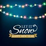 Abstrakter Hintergrund für frohe Weihnacht-oder guten Rutsch ins Neue Jahr-Karte mit Weihnachtslichtern und -schneeflocken Auch i lizenzfreie abbildung