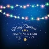 Abstrakter Hintergrund für frohe Weihnacht-oder guten Rutsch ins Neue Jahr-Karte mit Weihnachtslichtern und -schneeflocken Auch i stock abbildung