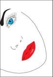 Abstrakter Hintergrund. Gesicht eines abstrakten Mädchens Stockbild