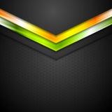 Abstrakter Hintergrund Glühender neontechnologie-Pfeile Stockfoto
