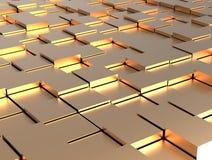 Abstrakter Hintergrund - Goldglänzende verschiedene Würfel stock abbildung