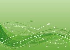 Abstrakter Hintergrund - grüne Blumen und Wellen Vektor Abbildung