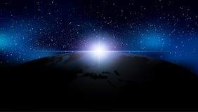 Abstrakter Hintergrund ist ein Raum mit Sternen Nebelfleck und Erde Vecto Lizenzfreie Stockfotografie