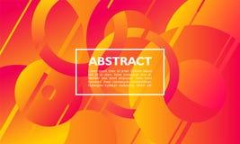 Abstrakter Hintergrund mit Überschneidungskreis- und Ringform auf orange Farbe stock abbildung