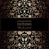 Abstrakter Hintergrund mit Antike, Luxusschwarzem und Goldweinleserahmen, Victorianfahne, Damastblumentapetenverzierungen lizenzfreie abbildung