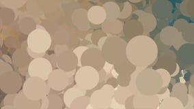 Abstrakter Hintergrund mit beweglicher Wolke vieler Kreise der verschiedenen Farben animation Brown, gelbe, beige Blasen lizenzfreie abbildung