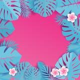 Abstrakter Hintergrund mit blauen cyan-blauen tropischen Blättern Dschungel patternwith Frangipaniblumen Blumenkapriolenschnitt-E lizenzfreies stockfoto