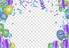 Abstrakter Hintergrund mit dem Glänzen von bunten Ballonen Geburtstag, Partei, Darstellung, Verkauf, Jahrestag und Verein-Entwurf vektor abbildung