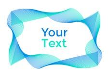 Abstrakter Hintergrund mit den grünen und blauen Kurven, Rahmen für Ihren Text Vektor lizenzfreie abbildung